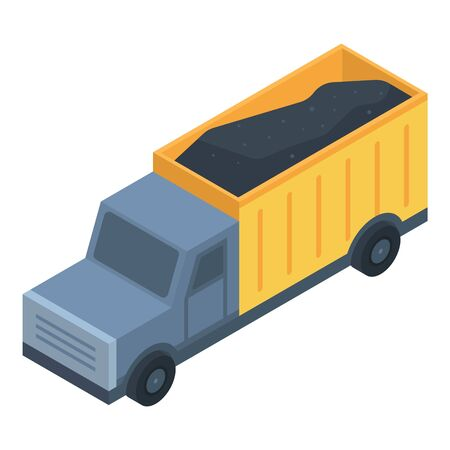 Coal truck icon. Isometric of coal truck vector icon for web design isolated on white background