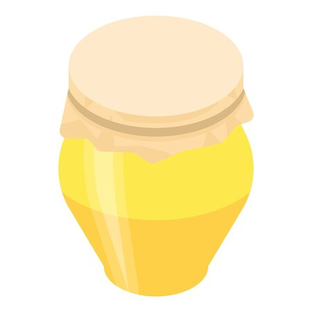 Glass jar of honey icon. Isometric of glass jar of honey vector icon for web design isolated on white background