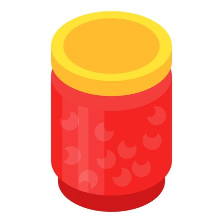 Jar of cherry jam icon. Isometric of jar of cherry jam vector icon for web design isolated on white background