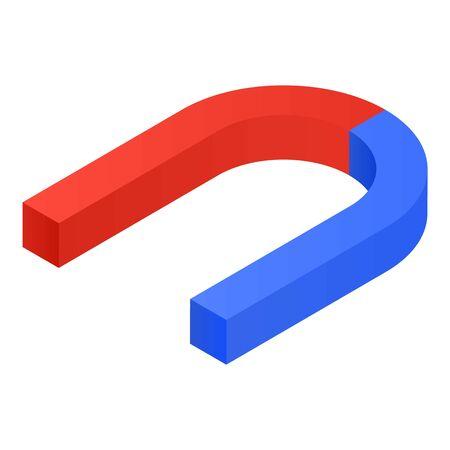 Horseshoe magnet icon. Isometric of horseshoe magnet vector icon for web design isolated on white background 向量圖像