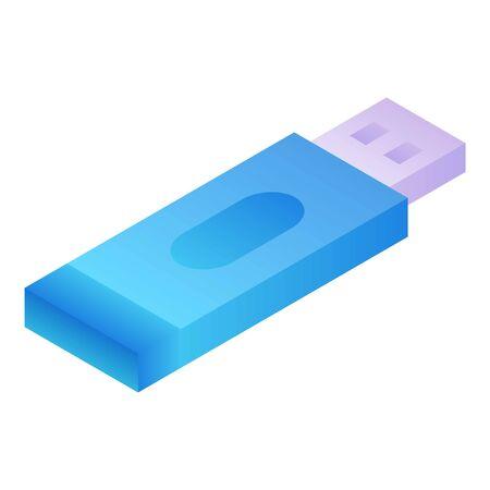 Icône de clé USB. Isométrique de l'icône vecteur clé USB pour la conception web isolé sur fond blanc