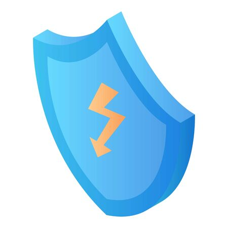 Shield security symbol icon, isometric style Illustration