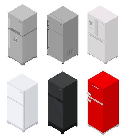 Fridge icons set. Isometric set of fridge vector icons for web design isolated on white background Illustration