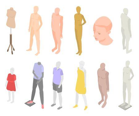 Mannequin icons set, isometric style