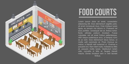 Food courts concept banner. Isometric illustration of food courts vector concept banner for web design