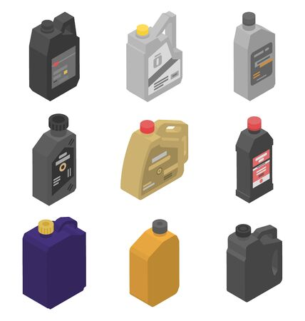 Motor oil icons set. Isometric set of motor oil vector icons for web design isolated on white background Ilustración de vector