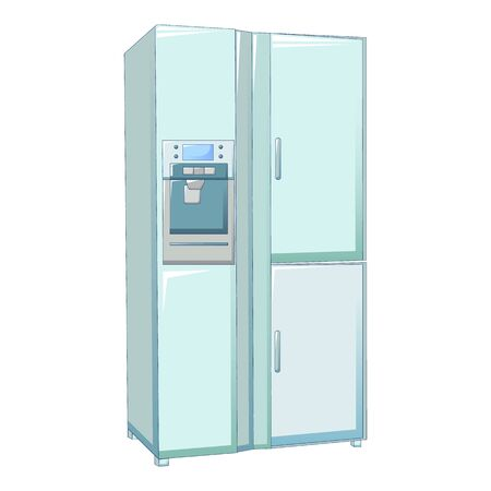 Large fridge icon. Cartoon of large fridge vector icon for web design isolated on white background Иллюстрация