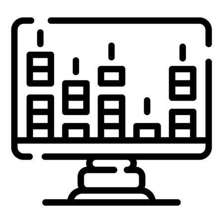Audio frequency monitor icon, outline style