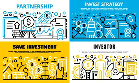 Invest strategy banner set. Outline set of invest strategy vector banner for web design