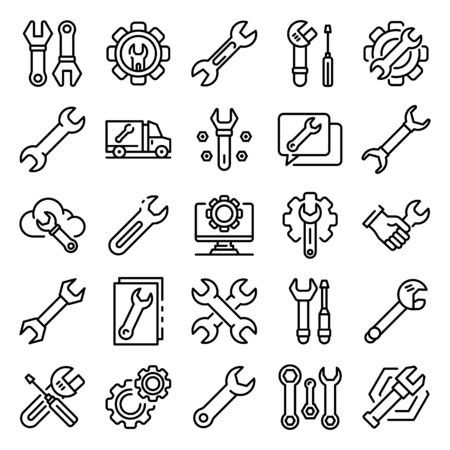 Wrench icons set. Outline set of wrench vector icons for web design isolated on white background