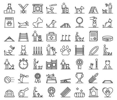 Conjunto de iconos de entrenamiento de perros, estilo de contorno