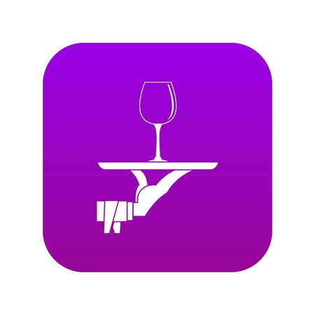 Waiter hand holding tray with wine glass icon digital purple for any design isolated on white vector illustration