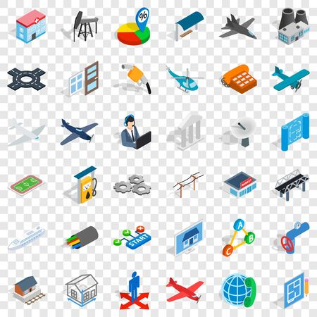 Start icons set, isometric style