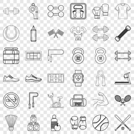 Exercise icons set, outline style
