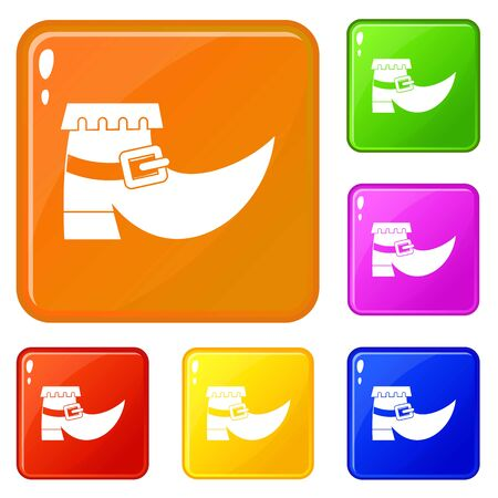 Boot with buckle icons set collection vector 6 color isolated on white background