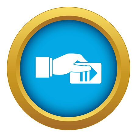 Hand with parking ticket icon blue vector isolated on white background for any design