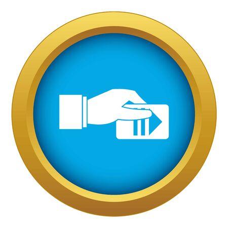 Mano con biglietto di parcheggio icona vettore blu isolato su sfondo bianco per qualsiasi design