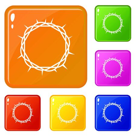 Crown of thorns icons set vector color Standard-Bild - 127017567