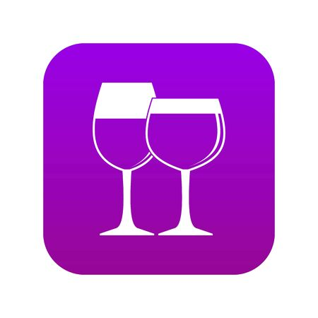 Two glasses of wine icon digital purple for any design isolated on white vector illustration