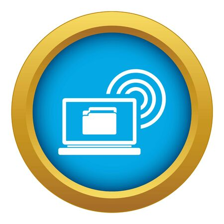 Laptop and and wireless icon blue vector isolated