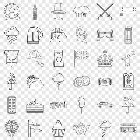 England icons set, outline style Illustration
