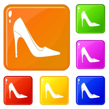 High heel shoe icons set collection vector 6 color isolated on white background