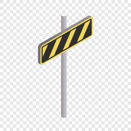 Road sign yellow and black stripes icon Ilustração
