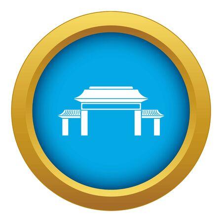 Pagoda icon blue vector isolated