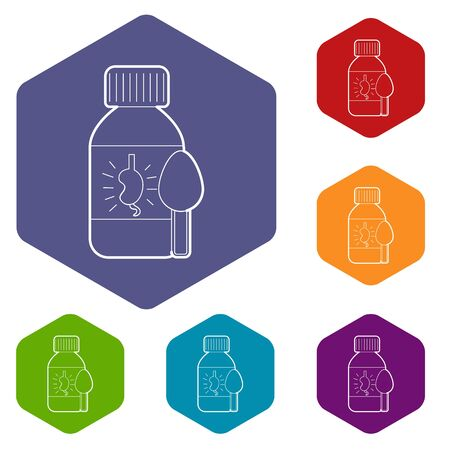 Medical syrup for kidney icons vector colorful hexahedron set collection isolated on white
