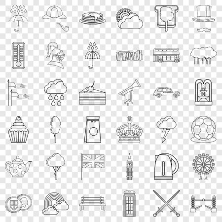 London icons set, outline style Illustration