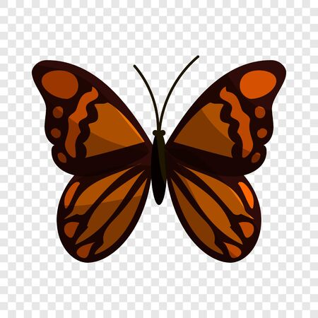 Brown butterfly icon, cartoon style