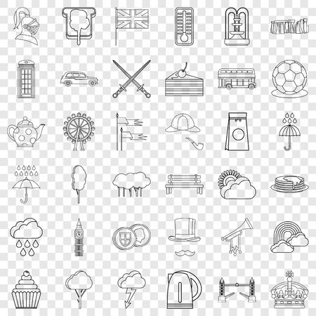 Stonehenge icons set, outline style Illustration