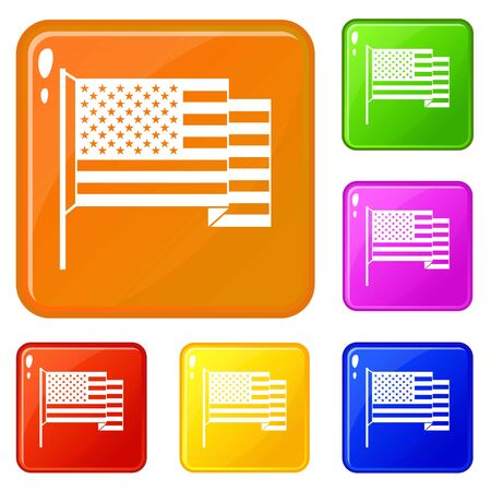American flag icons set vector color