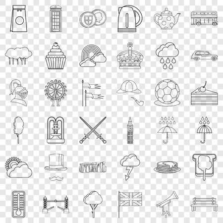 Pound icons set, outline style