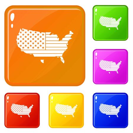 American map icons set vector color
