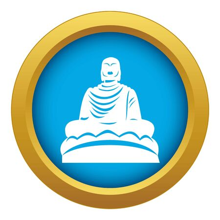 Buddha statue icon blue vector isolated Illustration