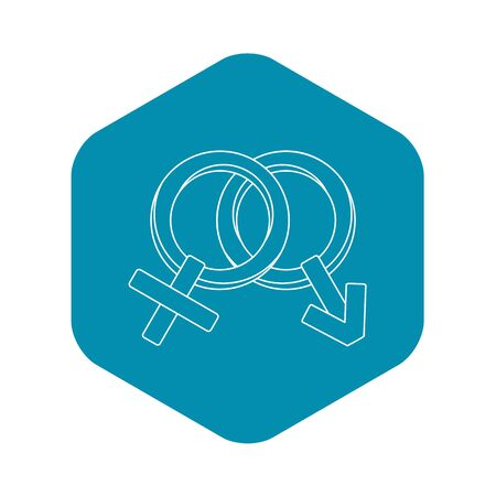 Venus and Mars symbol icon. Outline illustration of Venus and Mars symbol icon for web 스톡 콘텐츠