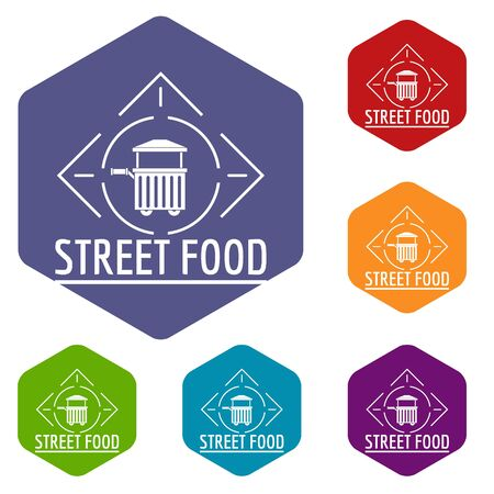 Street food icons hexahedron