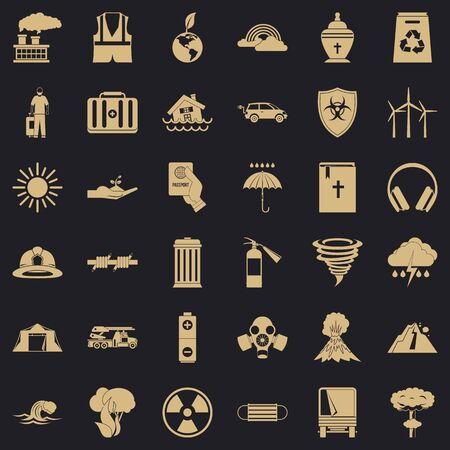 Natural disaster icons set, simple style