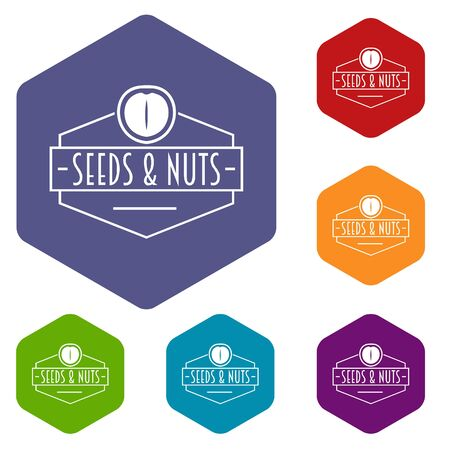 Nut and seed emblem icons hexahedron Banco de Imagens