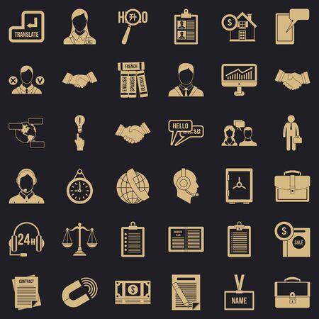 Long discussion icons set, simple style Banco de Imagens