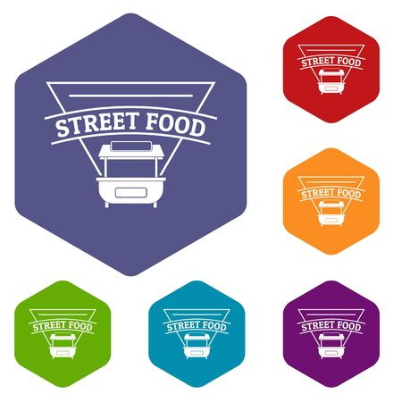 Stall food icons hexahedron Stock Photo