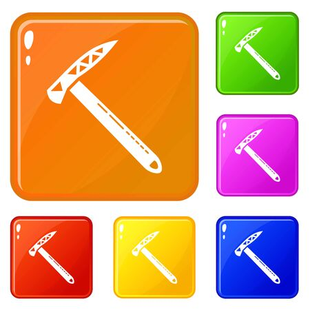 Hiking axe icons set color