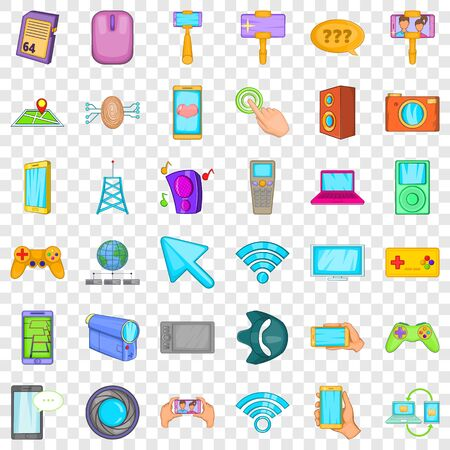 Web mobile icons set, cartoon style
