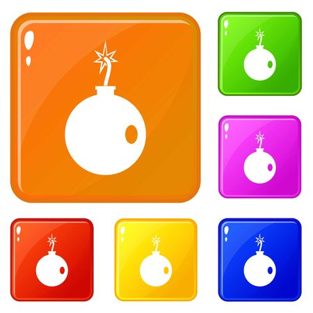 Cannonball icons set color