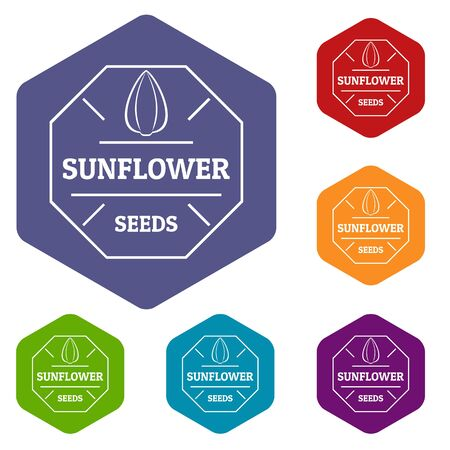 Sunflower seed icons hexahedron Stock Photo