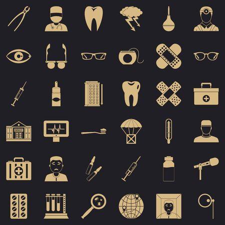 Medicine icons set, simple style