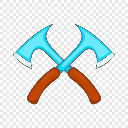 Two crossed axes icon, cartoon style