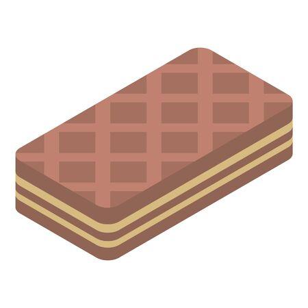 Chocolate waffles icon, isometric style Ilustração