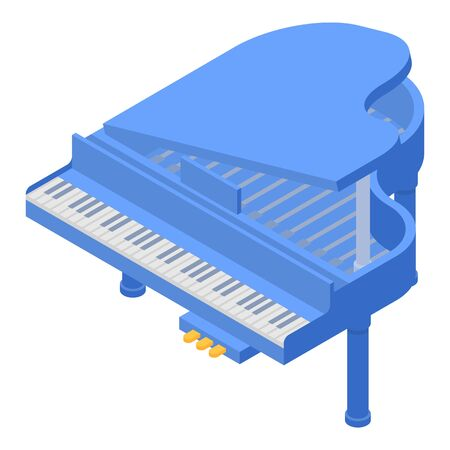 Blue grand piano icon. Isometric of blue grand piano vector icon for web design isolated on white background